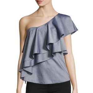 NWT Milly Cascade One Shoulder Blue Top 10